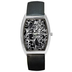 Floral High Contrast Pattern Barrel Style Metal Watch