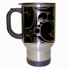 Floral High Contrast Pattern Travel Mug (Silver Gray)