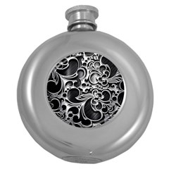 Floral High Contrast Pattern Round Hip Flask (5 oz)