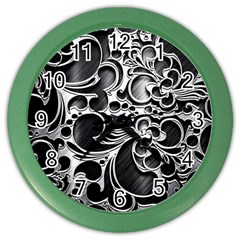 Floral High Contrast Pattern Color Wall Clocks