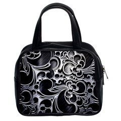 Floral High Contrast Pattern Classic Handbags (2 Sides)