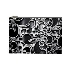 Floral High Contrast Pattern Cosmetic Bag (large)