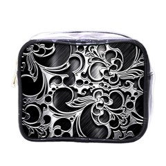 Floral High Contrast Pattern Mini Toiletries Bags