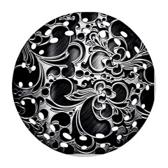 Floral High Contrast Pattern Ornament (Round Filigree)