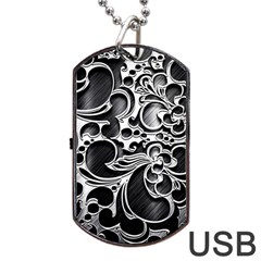 Floral High Contrast Pattern Dog Tag USB Flash (Two Sides)