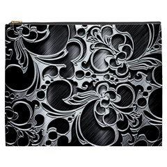 Floral High Contrast Pattern Cosmetic Bag (XXXL)