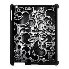 Floral High Contrast Pattern Apple iPad 3/4 Case (Black)