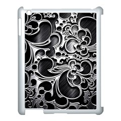 Floral High Contrast Pattern Apple iPad 3/4 Case (White)