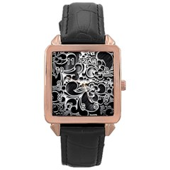 Floral High Contrast Pattern Rose Gold Leather Watch