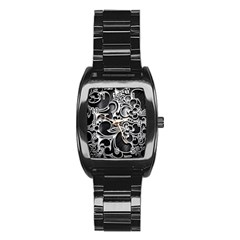 Floral High Contrast Pattern Stainless Steel Barrel Watch