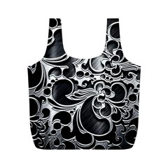 Floral High Contrast Pattern Full Print Recycle Bags (M)