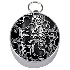 Floral High Contrast Pattern Silver Compasses