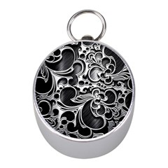 Floral High Contrast Pattern Mini Silver Compasses