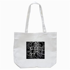 Floral High Contrast Pattern Tote Bag (White)