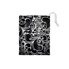 Floral High Contrast Pattern Drawstring Pouches (Small)