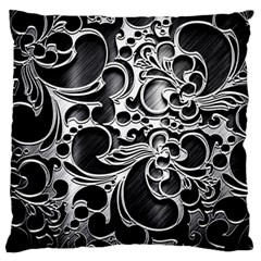 Floral High Contrast Pattern Large Flano Cushion Case (One Side)