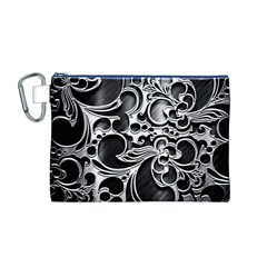 Floral High Contrast Pattern Canvas Cosmetic Bag (M)