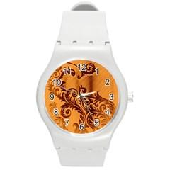 Floral Vintage  Round Plastic Sport Watch (M)