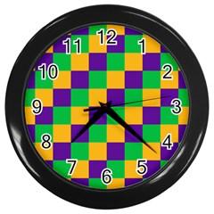 Mardi Gras Checkers Wall Clocks (Black)