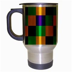 Mardi Gras Checkers Travel Mug (Silver Gray)