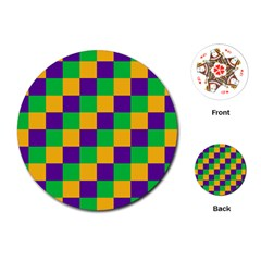 Mardi Gras Checkers Playing Cards (Round)