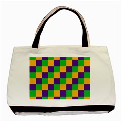 Mardi Gras Checkers Basic Tote Bag