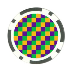 Mardi Gras Checkers Poker Chip Card Guard (10 pack)