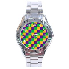 Mardi Gras Checkers Stainless Steel Analogue Watch