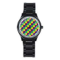 Mardi Gras Checkers Stainless Steel Round Watch