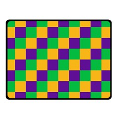 Mardi Gras Checkers Double Sided Fleece Blanket (small)