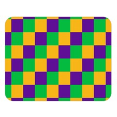 Mardi Gras Checkers Double Sided Flano Blanket (Large)