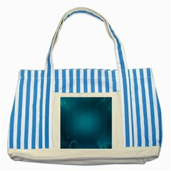 Blue Sea World Animals Fish Flower Floral Swim Waves Striped Blue Tote Bag