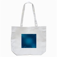 Blue Sea World Animals Fish Flower Floral Swim Waves Tote Bag (White)