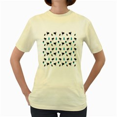 Bird Beans Leaf Black Blue Women s Yellow T-Shirt