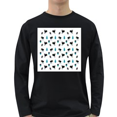 Bird Beans Leaf Black Blue Long Sleeve Dark T-Shirts