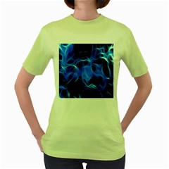 Blue Flame Light Black Women s Green T-Shirt