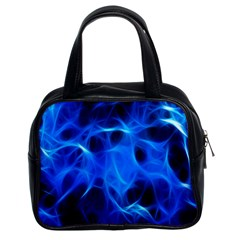 Blue Flame Light Black Classic Handbags (2 Sides)