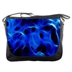Blue Flame Light Black Messenger Bags