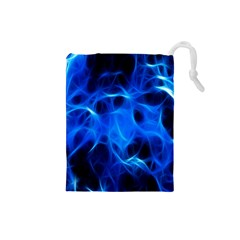Blue Flame Light Black Drawstring Pouches (Small)