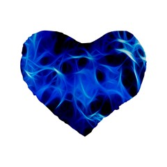 Blue Flame Light Black Standard 16  Premium Flano Heart Shape Cushions