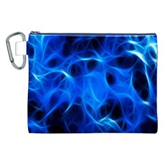 Blue Flame Light Black Canvas Cosmetic Bag (XXL)