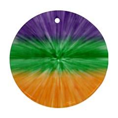 Mardi Gras Tie Die Round Ornament (Two Sides)