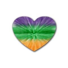 Mardi Gras Tie Die Heart Coaster (4 pack)