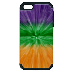 Mardi Gras Tie Die Apple iPhone 5 Hardshell Case (PC+Silicone)