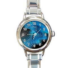 Waves Wave Water Blue Hole Black Round Italian Charm Watch