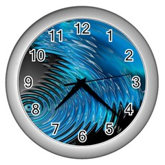 Waves Wave Water Blue Hole Black Wall Clocks (silver)