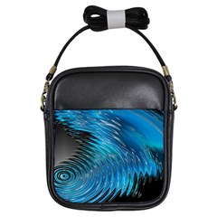 Waves Wave Water Blue Hole Black Girls Sling Bags