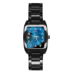 Waves Wave Water Blue Hole Black Stainless Steel Barrel Watch