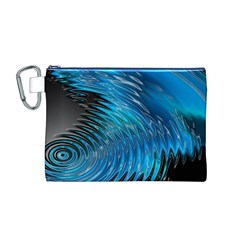 Waves Wave Water Blue Hole Black Canvas Cosmetic Bag (M)