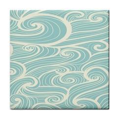Blue Waves Tile Coasters